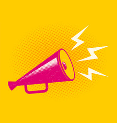 Pink megaphone on halftone background vector