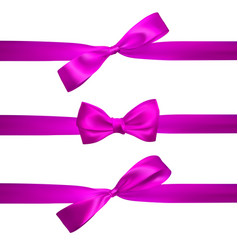 realistic pink bow with horizontal pink ribbons vector image
