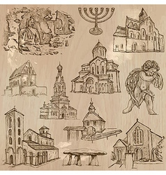Religion around the World - freehand pack vector