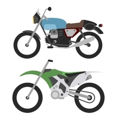 Retro motorcycle and motorcross bike isolated on vector