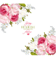 Romantic flowers corner banner vector