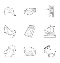 scandinavia life icons set outline style vector image