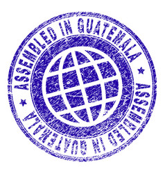 Scratched textured assembled in guatemala stamp vector