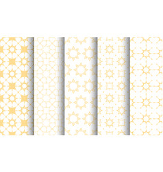 seamless islamic pattern set white and golden vector image
