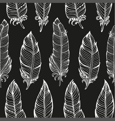 seamless pattern hand drawn bird feathers vector image