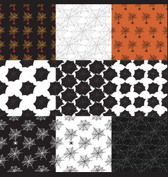 Set 9 halloween seamless patterns with spider vector
