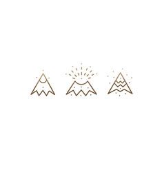 Set linear icons volcano vector