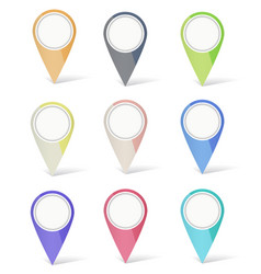 set multicolored map pins vector image