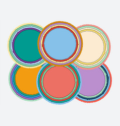 set of colorful round torn paper frames with vector image