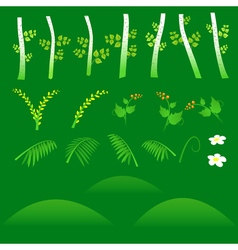 Set of flat forest elements Include grass flowers vector