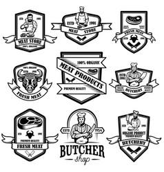 set vintage meat store labels design element vector image