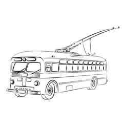 Sketch of old trolleybus vector