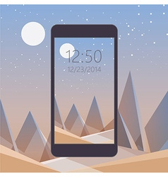Smooth polygonal landscape design with mobile vector