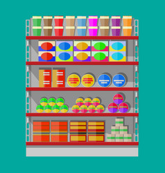 Supermarket shelves with groceries vector