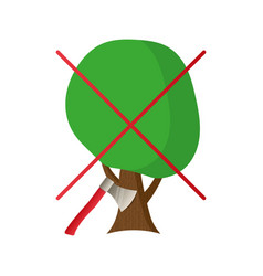 the sign of the ban on cutting trees vector image