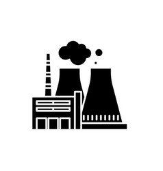 Thermal power plant black icon sign on vector
