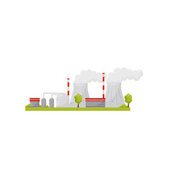 thermal power plant with industrial buildings and vector image