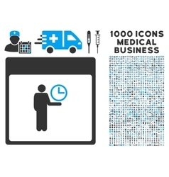 Time manager calendar page icon with 1000 medical vector