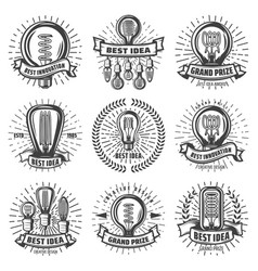 Vintage energy efficient lightbulbs labels set vector