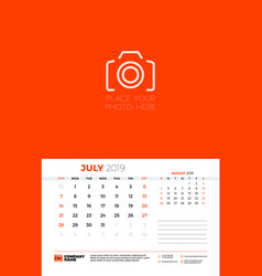 Wall calendar template for july 2019 week starts vector