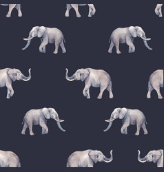 Watercolor elephant seamless pattern vector
