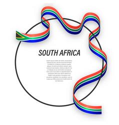 Waving ribbon flag south africa on circle vector