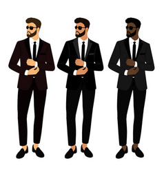 wedding men s suit and tuxedo collection the vector image