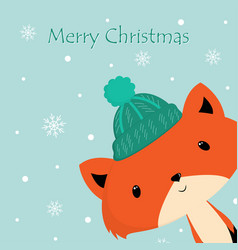 Winter card with fox vector