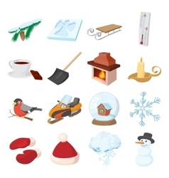 winter icons icons set cartoon style vector image