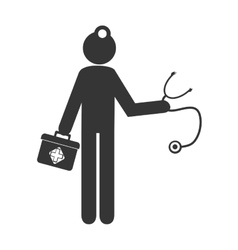Doctor with equipment pictogram design vector image