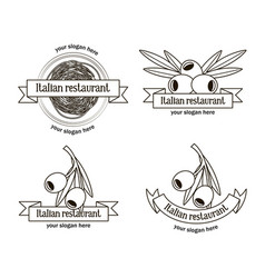 hand drawn italian restaurant logos set vector image