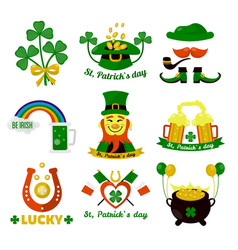 symbols of ireland flag and horseshoe luck vector image