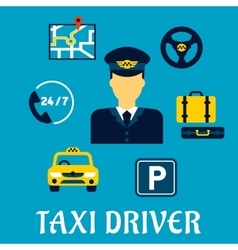 Taxi driver profession with service icons vector image vector image