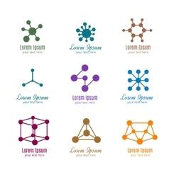 Dna and molecule logos for tech medicine vector image vector image