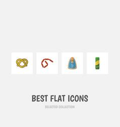 flat icon food set of spaghetti cookie bratwurst vector image vector image