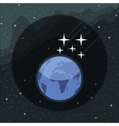 Digital planet earth icon with falling vector image