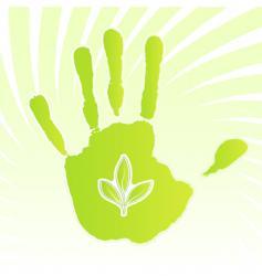 ecology leaf handprint design vector image vector image