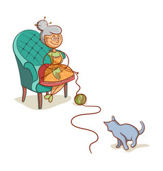 grandmother with cat vector image