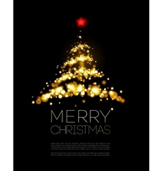 Shiny Gold Christmas tree in black poster vector image vector image
