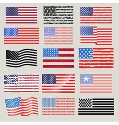 USA flags set vector image