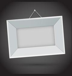 white photo frame on dark background vector image