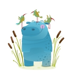 Wildlife Hippo with Cute Birds Smiling Kids vector image vector image
