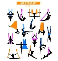 Aero Yoga Black White Icon Set vector image