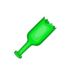 Broken green bottle as weapon icon cartoon style vector