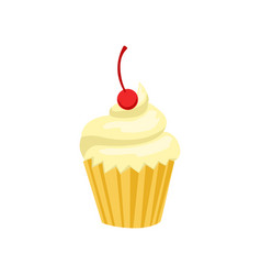 cupcake sweet pastry decorated with cherry vector image