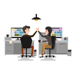 give me high-five two business man and woman vector image vector image