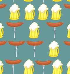 Sausage and beer seamless pattern Symbol of German vector image vector image