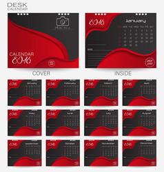 set red desk calendar 2018 design template vector image