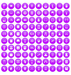 100 history icons set purple vector