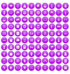 100 history icons set purple vector
